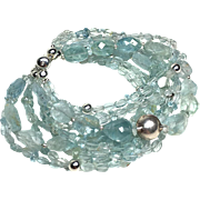 Aquamarine and Sterling Multi Strand Bracelet