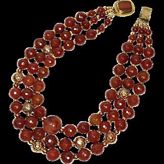 Carnelian Triple Strand Necklace, Majesty