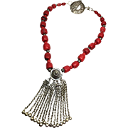 Dyed Coral Necklace with Tribal Pendant