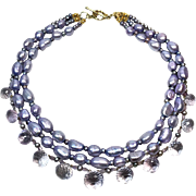 Lavender Baroque Pearl and Amethyst Necklace