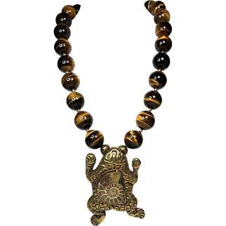 Tiger Eye Bead Necklace with Frog Pendant