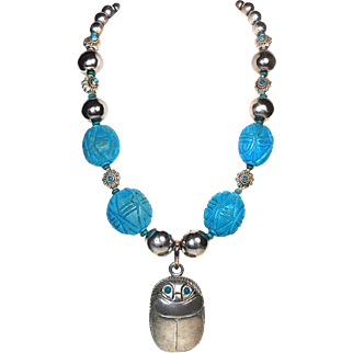 Repurposed Turquoise Necklace with Scarab Box