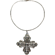 Repurposed Christmas Cross Necklace