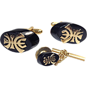 Black Coral and Gold Filled Tie Tack and Cufflink Set