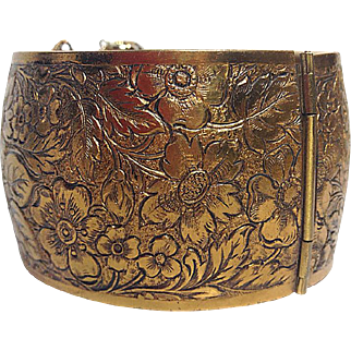 Hinged Brass Cuff with Floral Pattern