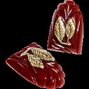 Red Bakelite Dress Clips, Pair