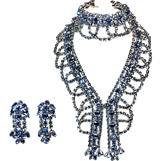 Blue Garnished Rhinestone Necklace, Bracelet and Earrings Parure