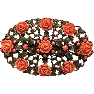 Celluloid Coral Rose Brooch