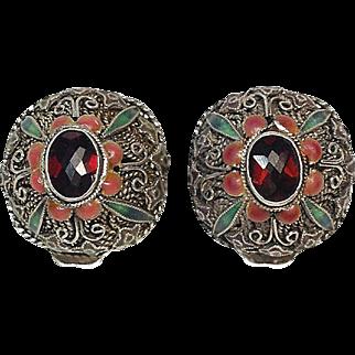 Garnet Earrings with Silver Filigree