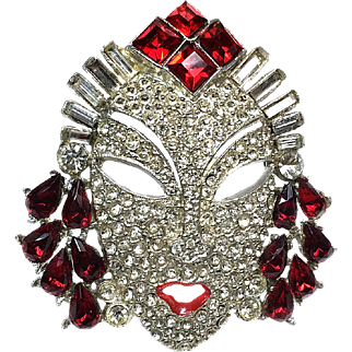 Jeweled Character Face Brooch