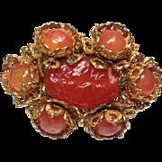 Miriam Haskell Orange Glass Brooch