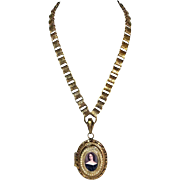 Portrait Locket with Damascened Chain