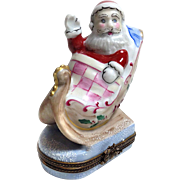 Limited Edition Santa on Sleigh Limoges Box