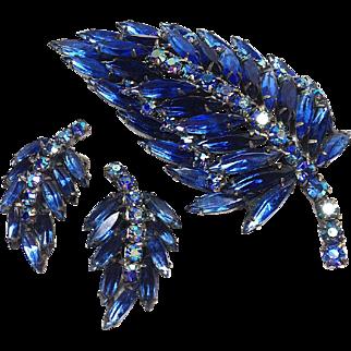 Weiss Blue Rhinestone Brooch and Earrings