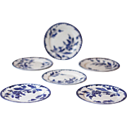 6 Gorgeous Vintage French Blue and White Porcelain Dessert Plates, Cake Plates or Tea Plates