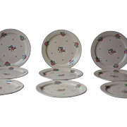 10 Vintage French 1940s Cream Floral Longchamp Rosie Porcelain Plates, Dinner Plates, with Blue and Pink Roses