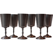 Six French Pewter Wine Glasses, or Goblets