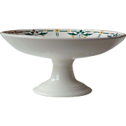 Vintage French Art Deco White Floral Ironstone Cake Stand, or Compote, with Yellow and Green Flowers