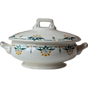Vintage French Art Deco White Floral Ironstone Soup Server, Tureen, Serving Bowl, with Yellow and Green Flowers