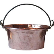 Antique Solid Copper 'Marmite', or Couldron with Wrought Iron Handle, for a Country Kitchen