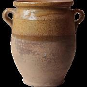 """10"""" Antique French Confit Pot, Preserving Jar, Pottery, Stoneware"""