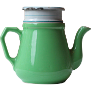 1940s French Vintage Porcelain and Enamel Green, White and Blue Coffee Pot, Cafetiere, or Tea Infuser