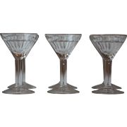 6 Antique French Bistro Molded Aperitif Glasses, Digestif Glasses