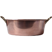 French Solid Copper 'Confiture' Pan with Brass Handles, for a Country Kitchen