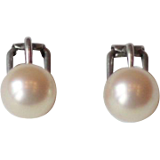 Mid Century Vintage Majorica Simulated Pearl and 800 Silver Clip On Earrings