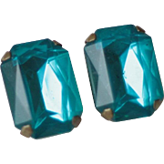 Large Emerald Cut Synthetic Blue Vintage Clip On Earrings