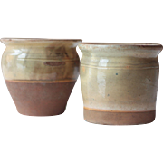 Gorgeous Pair of Small Antique French Stoneware Plant Pots in Slipware