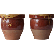 Gorgeous Large(ish) Pair of Antique French Stoneware Plant Pots in Slipware