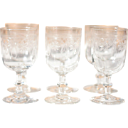Set of 6 Antique French Engraved Crystal Wine Glasses
