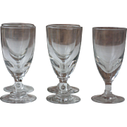 5 Heavy Antique French Iconic Handblown Absinthe Glasses, from the late 1800s