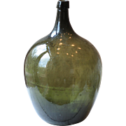 """Large & Heavy 21"""" Antique French Demi-John, or Carboy, in Green"""