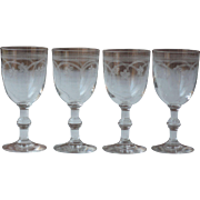 Set of 4 Antique French Engraved, or Etched Aperitif Glasses