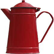 Vintage French Enamel Red Coffee Pot