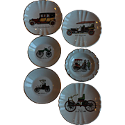 6 French Porcelain Antique Car Collector Plates