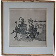 Vintage French Framed Woodcut, Original Print, #7 of a series of 50