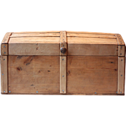 Vintage French Domed Wooden Chest, or Trunk Storage