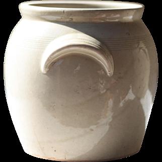 "9.5"" Antique French Light Beige Cream Stoneware Confit Pot, Crock, Jar, or Kitchen Utensil Holder"