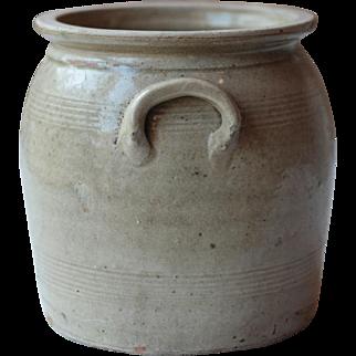 "8.25"" Antique French Grey Green Stoneware Confit Pot, Crock, Jar, or Kitchen Utensil Holder"