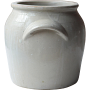 "10.5"" Antique French Cream Beige Stoneware Confit Pot, Crock, Jar or Kitchen Utensil Holder"