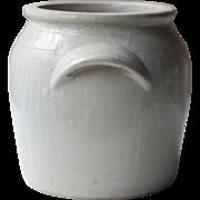 """10.5"""" Antique French Cream Beige Stoneware Confit Pot, Crock, Jar or Kitchen Utensil Holder"""