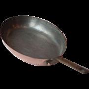 Medium Vintage French Copper Skillet or Frying Pan 30cm