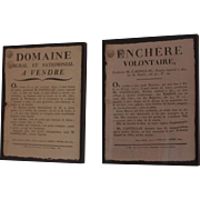 Two Antique Framed French Letterpressed Notices