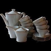 Retro French Porcelain White & Gold (gilded) Coffee Set