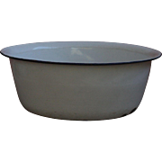 Large White & Blue Enamel Basin