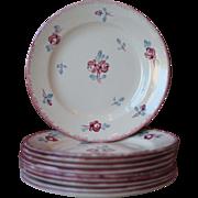 Set of 10 Vintage French Porcelain Dessert Plates, Cake Plates or Tea Plates - Sarreguemines, Danube