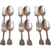 "Set of 6 Art Nouveau 8"" Antique French Christofle Silver Spoons & Forks - Model Filet, or Chinon"